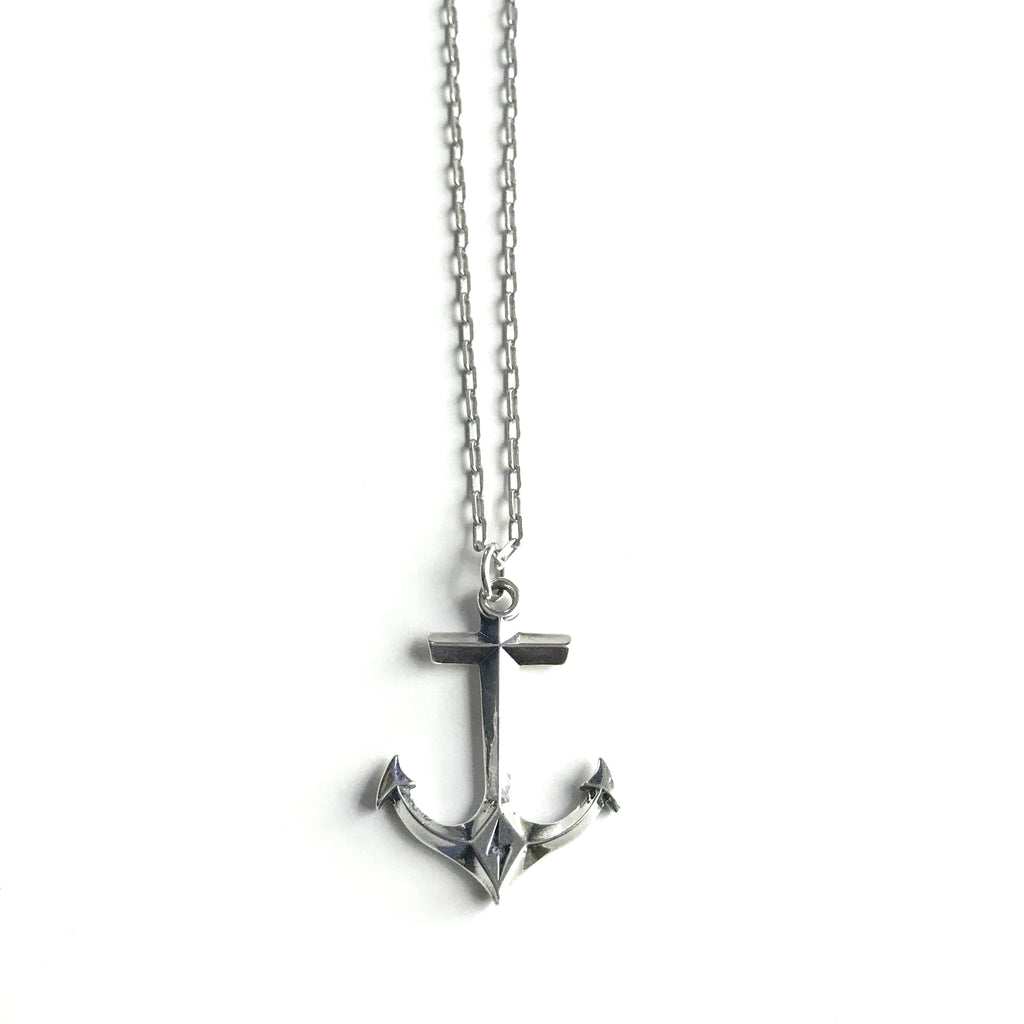 STRENGTH Hold Fast Anchor Necklace - Sterling Silver