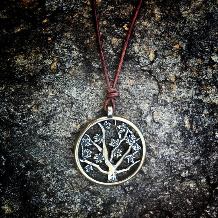 Tree of Life Necklace on Adjustable Leather Cord - Honor Emblem