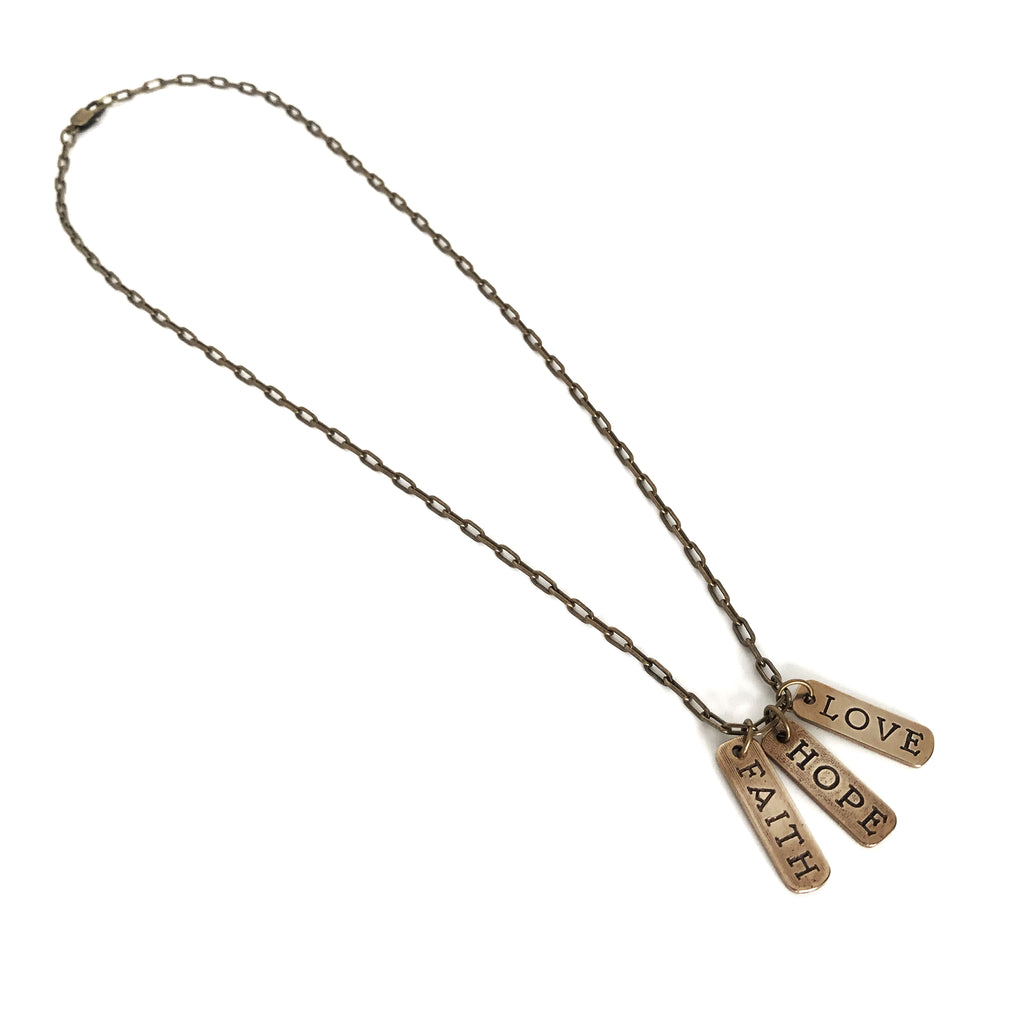 FAITH, HOPE, LOVE Words of Honor Necklace - Bronze