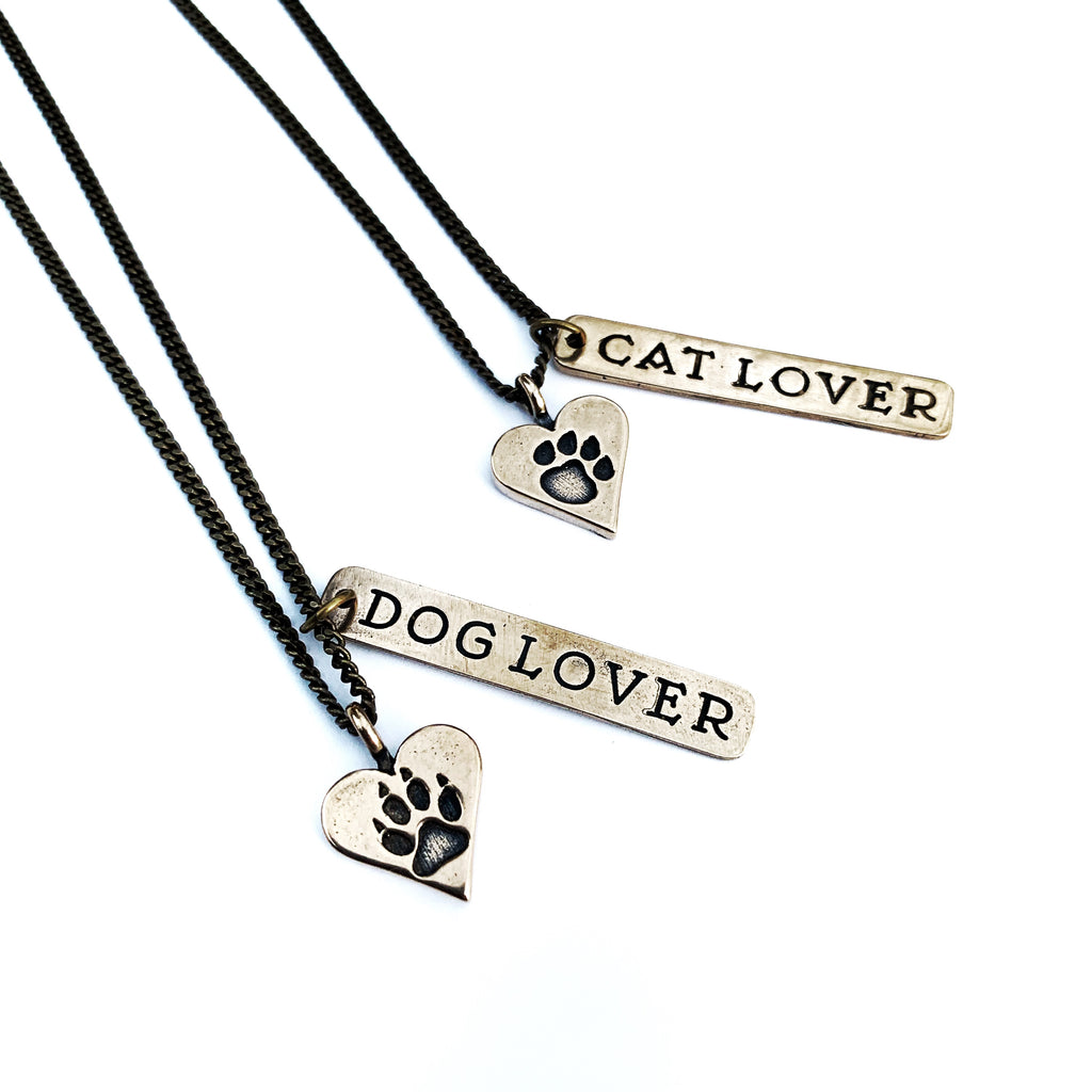 Dog Lover or Cat Lover Necklace - Bronze Choker Mini
