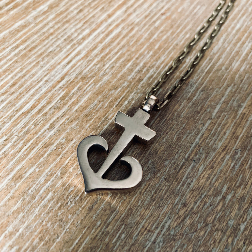 LOVE Anchored Heart Necklace - Bronze
