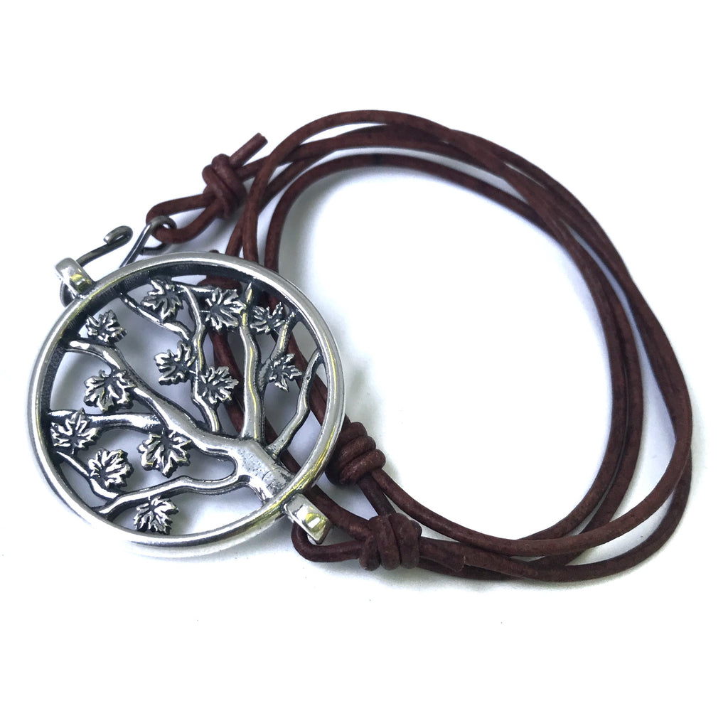 Tree of LIFE Bracelet - Sterling Silver on Leather Cord
