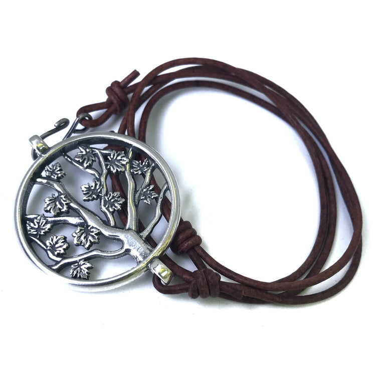 Tree of LIFE Bracelet - Sterling Silver on Leather Cord *BACK IN STOCK!