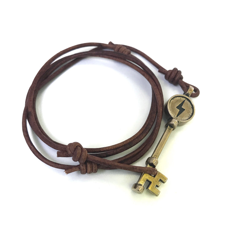 FREEDOM Deliverance Skeleton Key Bracelet - Bronze on Leather Cord