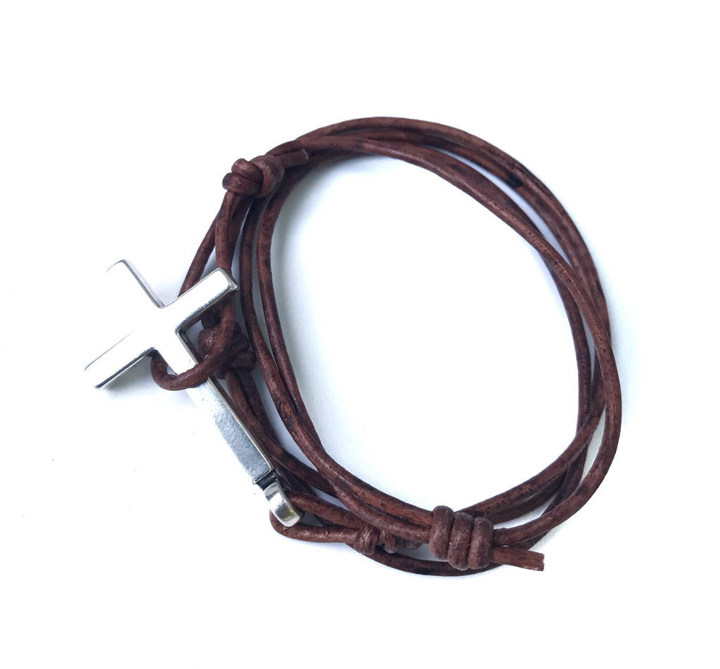 FAITH Classic Cross Bracelet - Sterling Silver on Leather Cord