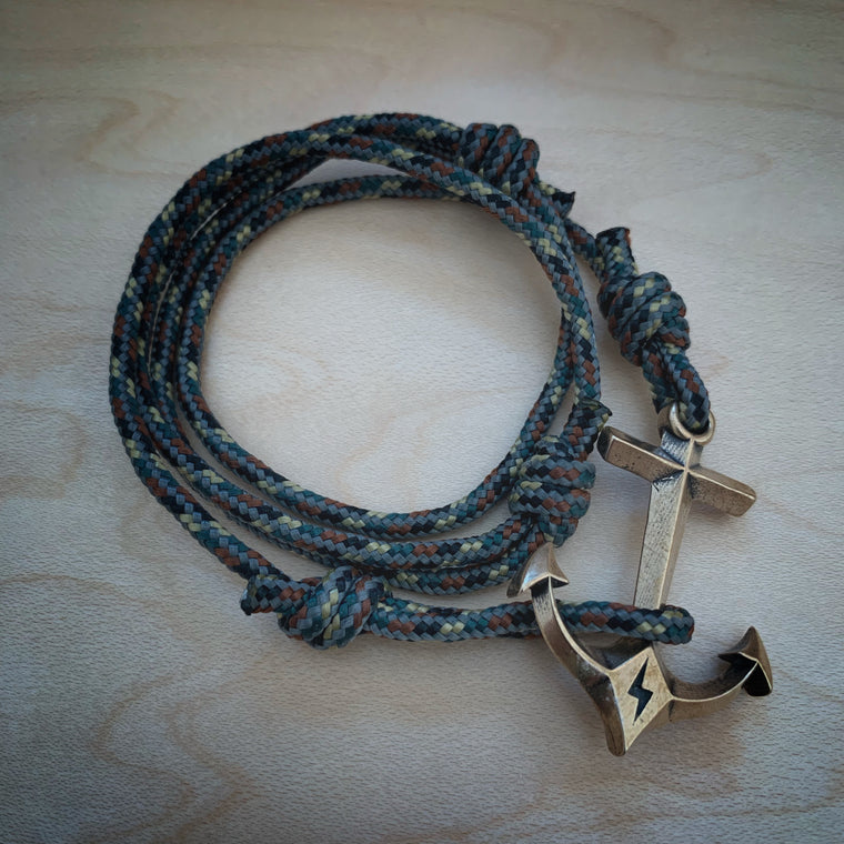 New Release! STRENGTH Hold Fast Anchor Bracelet - Bronze on Paracord - Tactical Camo or Jedi Black