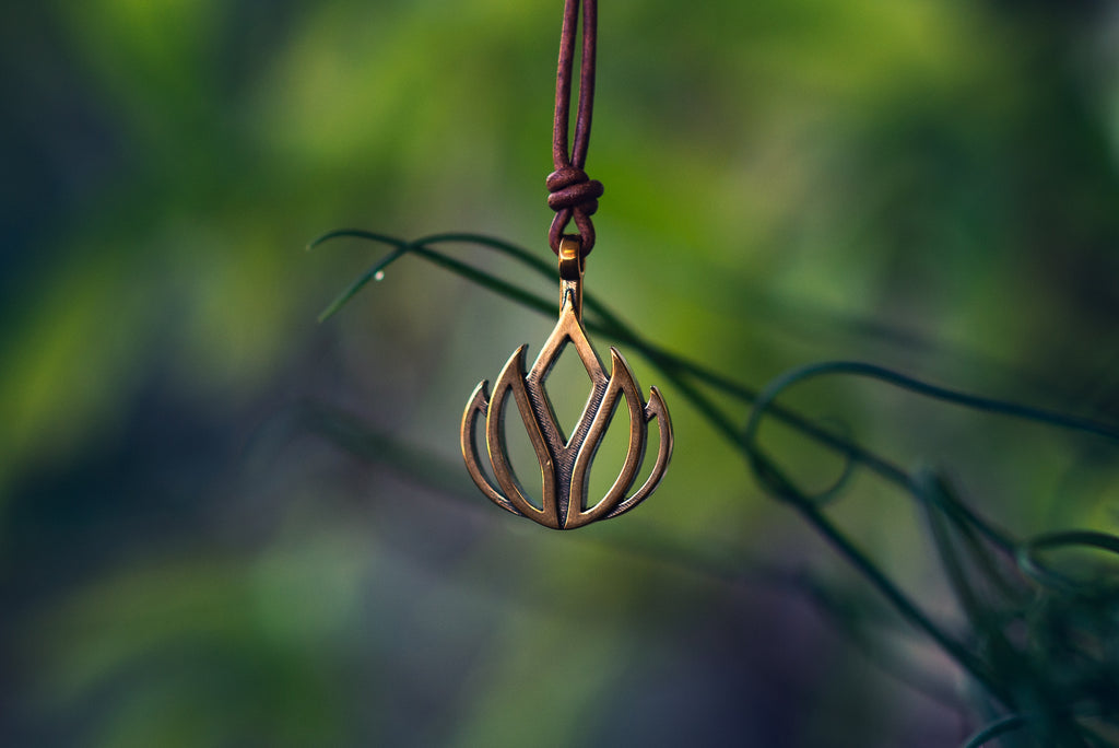 LIFE Lotus Flower of Grace Necklace - Bronze on Leather Cord