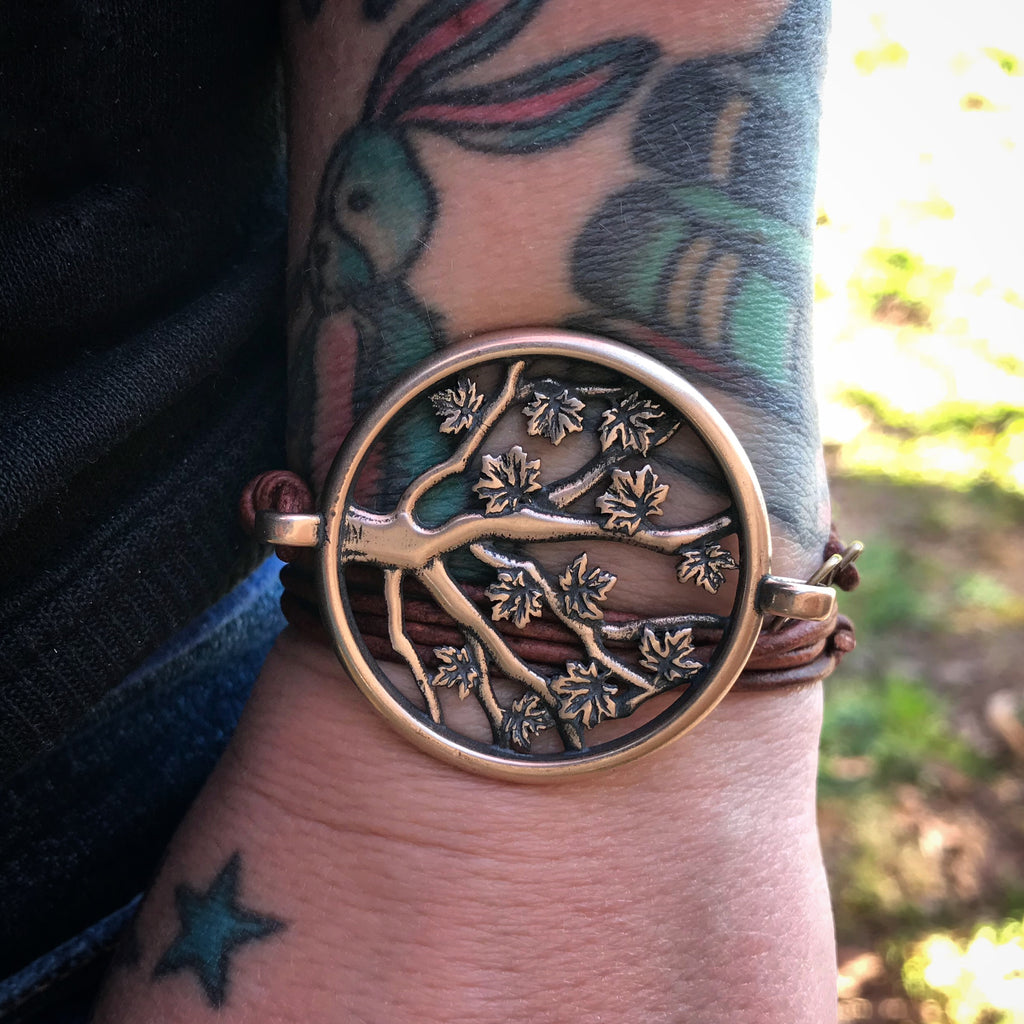 Tree of LIFE Bracelet - Bronze on Leather Cord