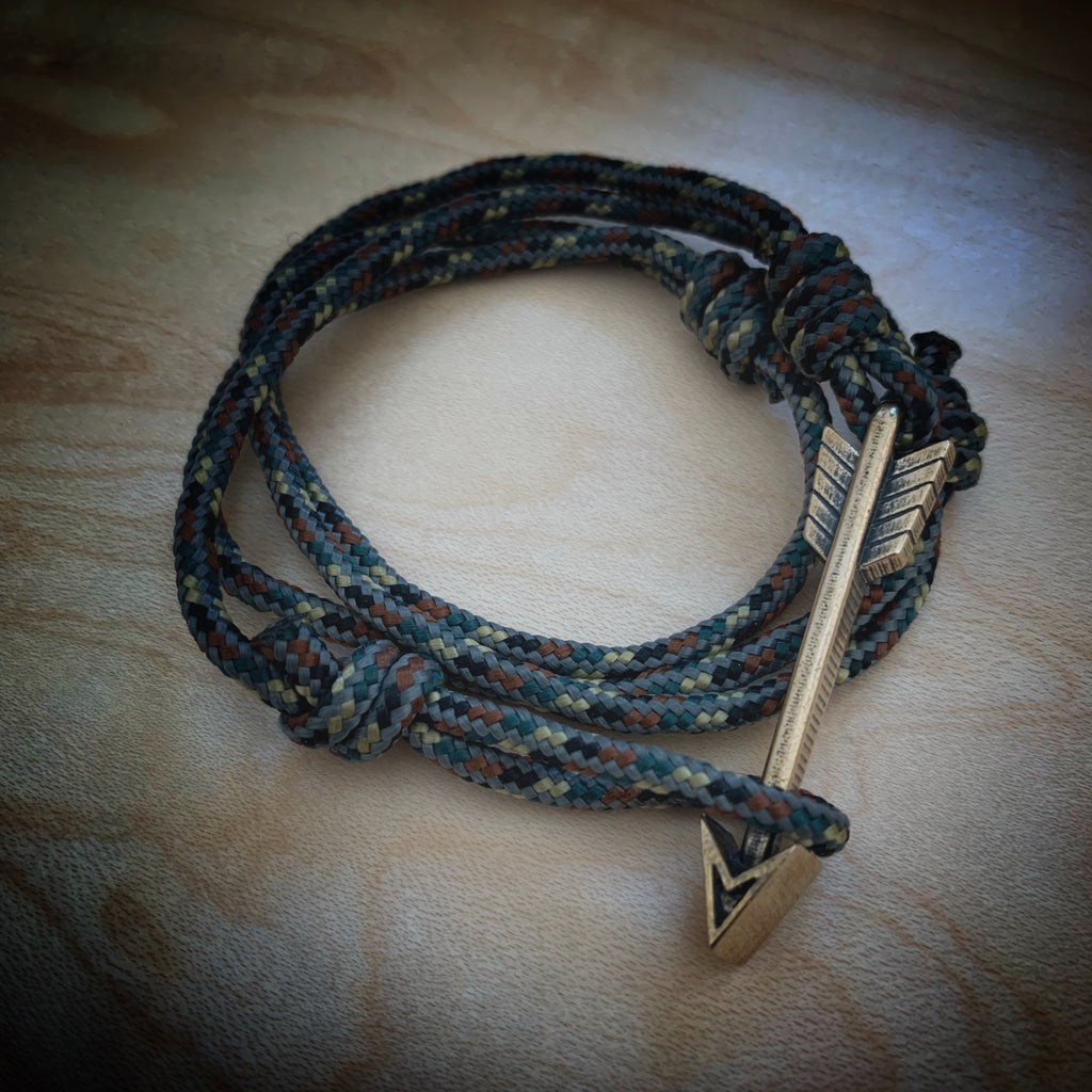 New Release! STRENGTH Arrow of Courage Bracelet - Bronze on Paracord - Tactical Camo or Jedi Black