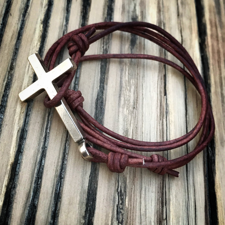 FAITH Classic Cross Bracelet - Bronze on Leather Cord