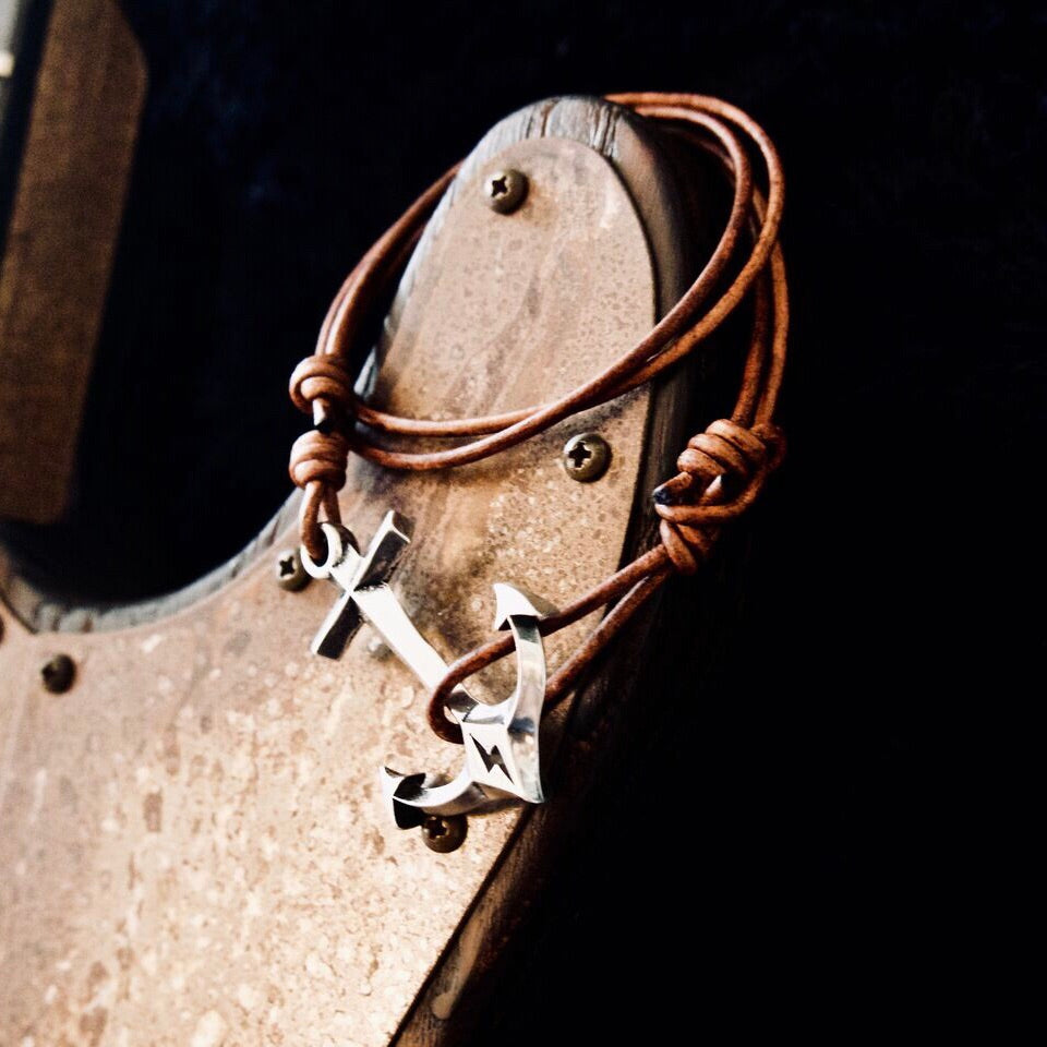 STRENGTH Hold Fast Anchor Bracelet - Sterling Silver on Leather Cord