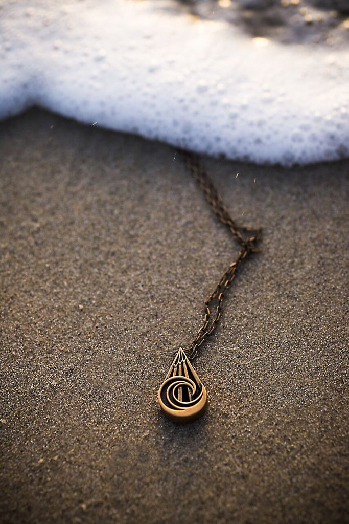 PEACE Mountain Wave Necklace - Bronze