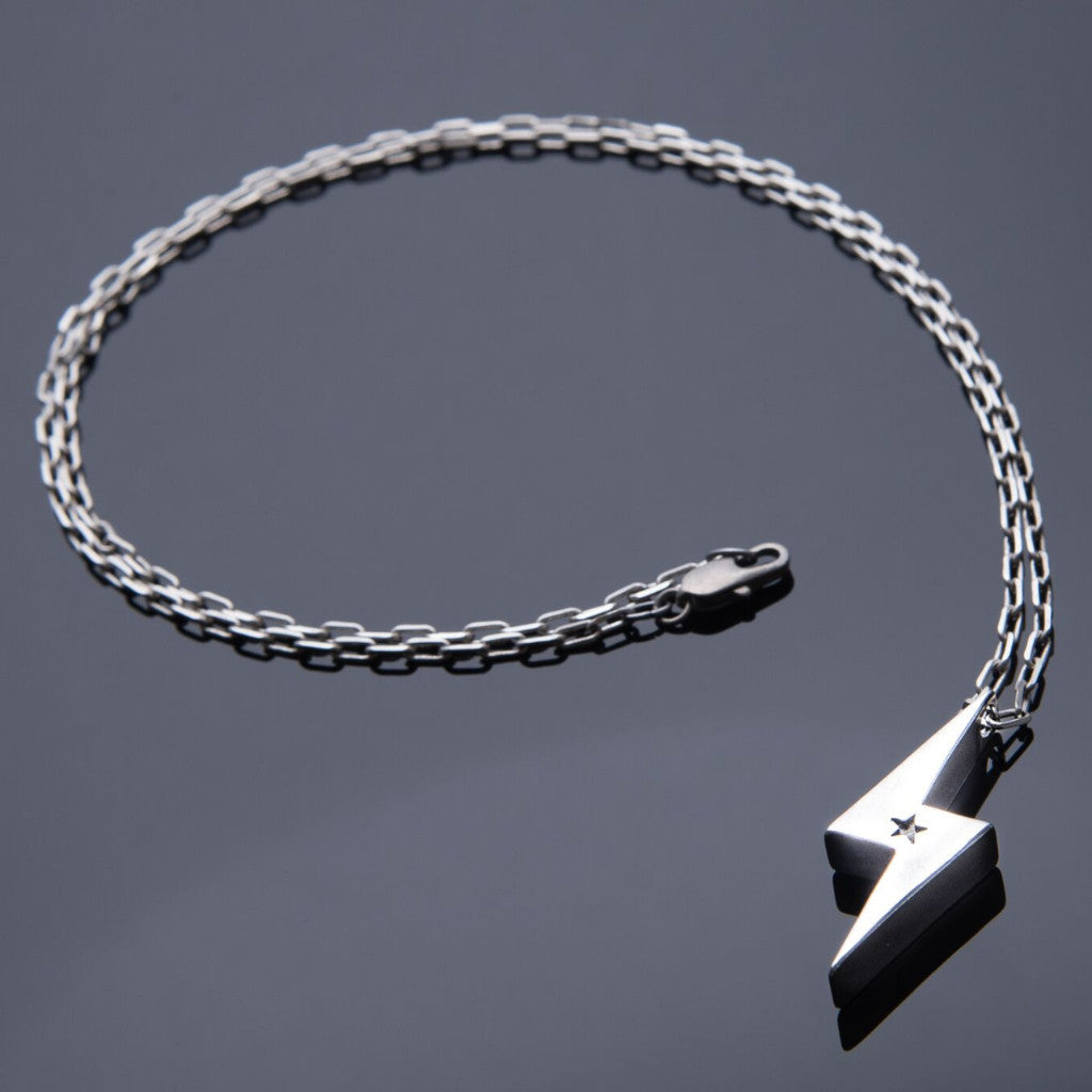 STRENGTH Lightning Bolt Necklace - Sterling Silver HONOR EMBELM Jewelry