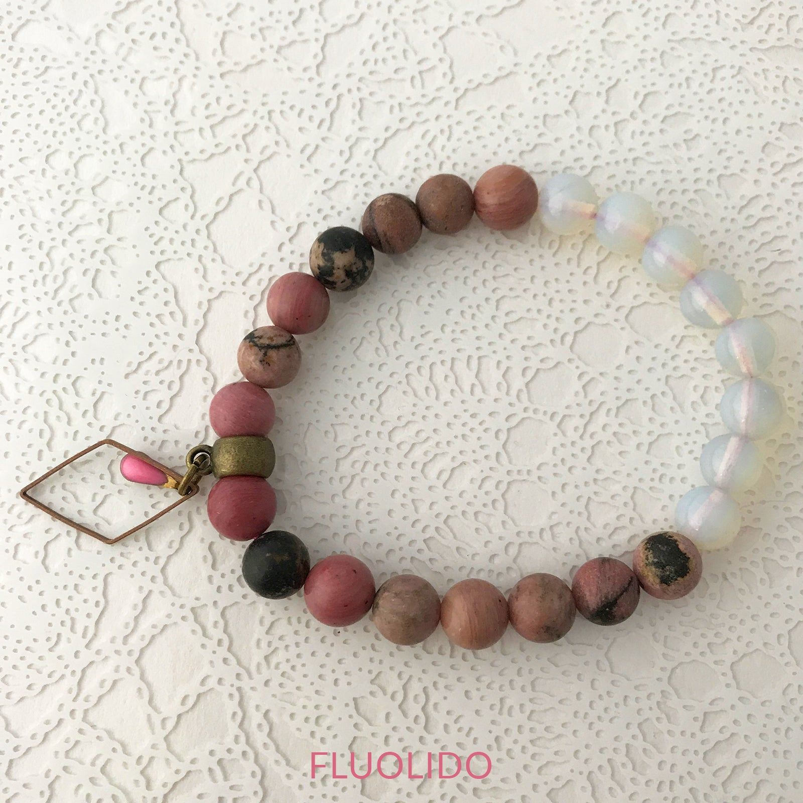 Bracelet Rhodonite Rose Antique