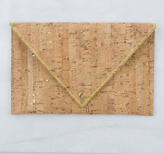 GUCHA // Cork Stamped Envelope Clutch