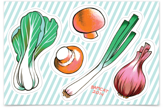 ALLISON BAMCAT// VEGGIES STICKER SHEET