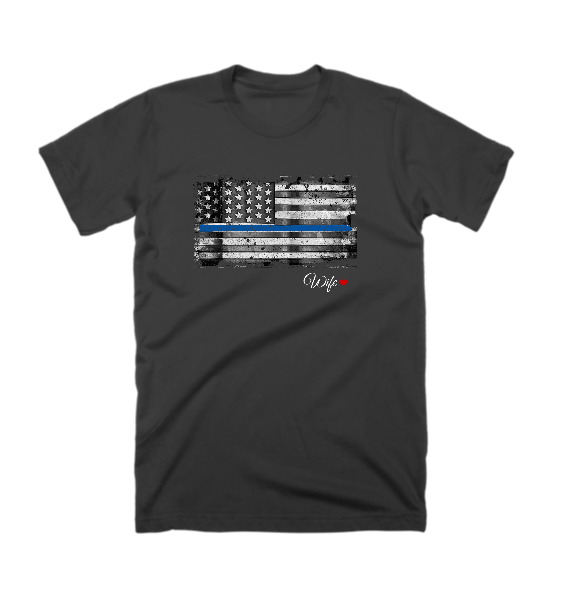 Police Thin Blue Line Horizonal Wife Custom T-Shirt