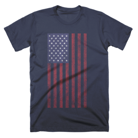 Retro Vertical American Flag Custom T-Shirt