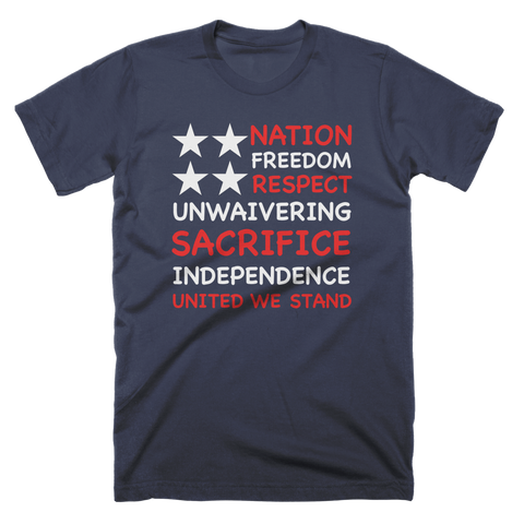 US Text Flag Patriotic Custom T-Shirt