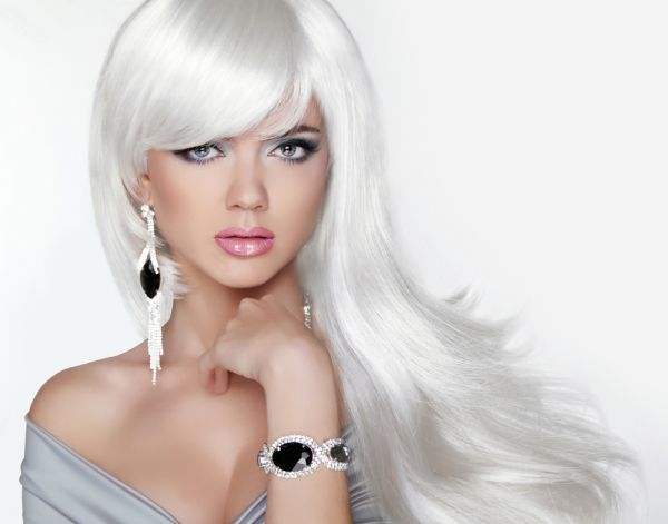 Silver Long Haired Woman With Luxurious Jewelry ISA Professional
