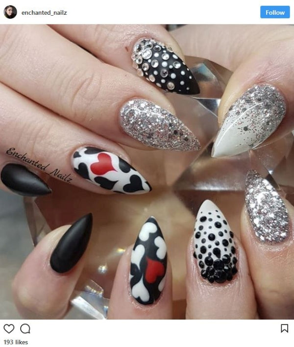 Black White and Red Nail Art