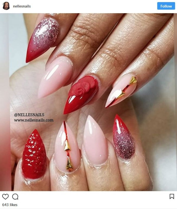 Red and Pink Nail Art