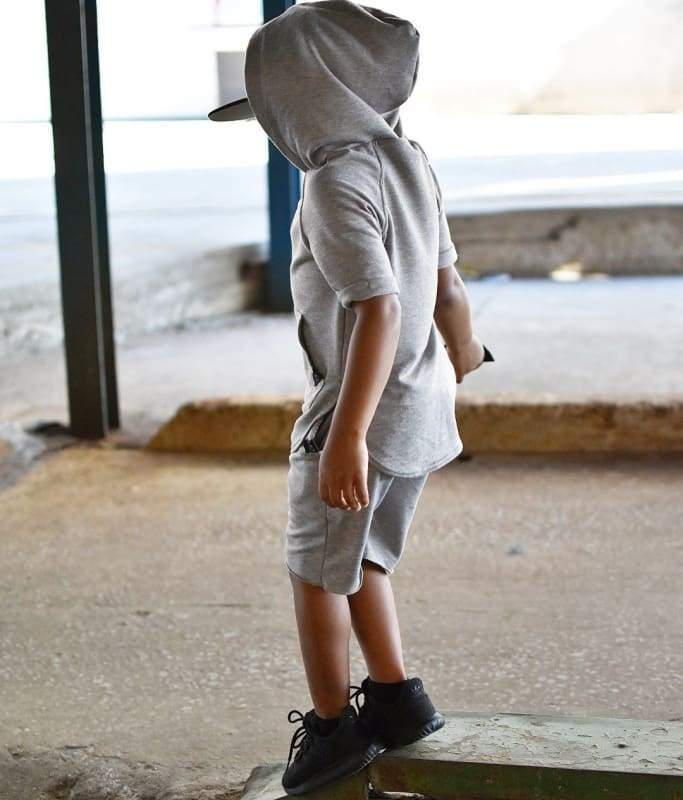 Heather Grey Hooded T-Shirt - 5T - Clothing