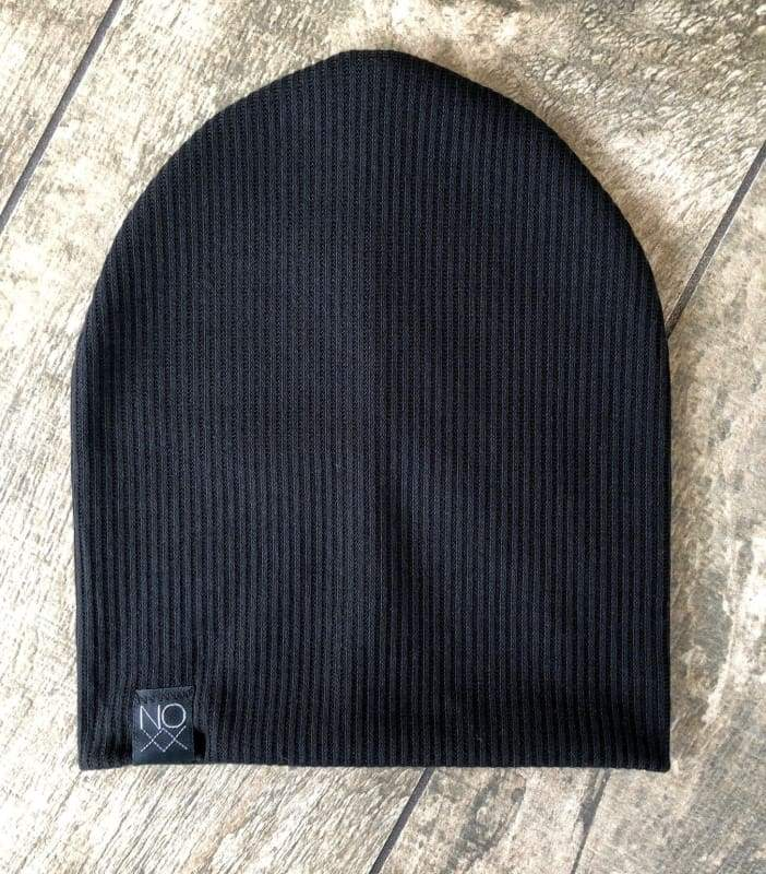 Black | Ribbed Knit Beanie - Beanies