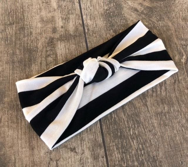 Black Stripes | Adjustable Knotted Headband