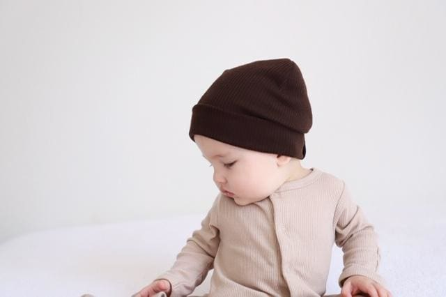 Brown | Ribbed Knit Beanie - Beanies