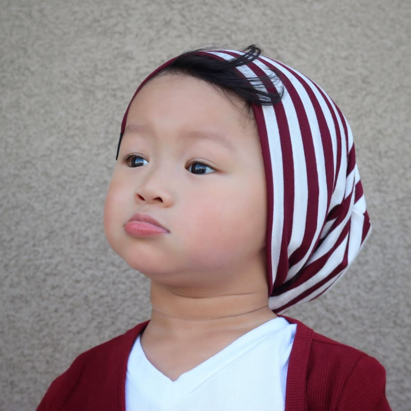 Burgundy Stripes | Jersey Knit Beanie - Beanies