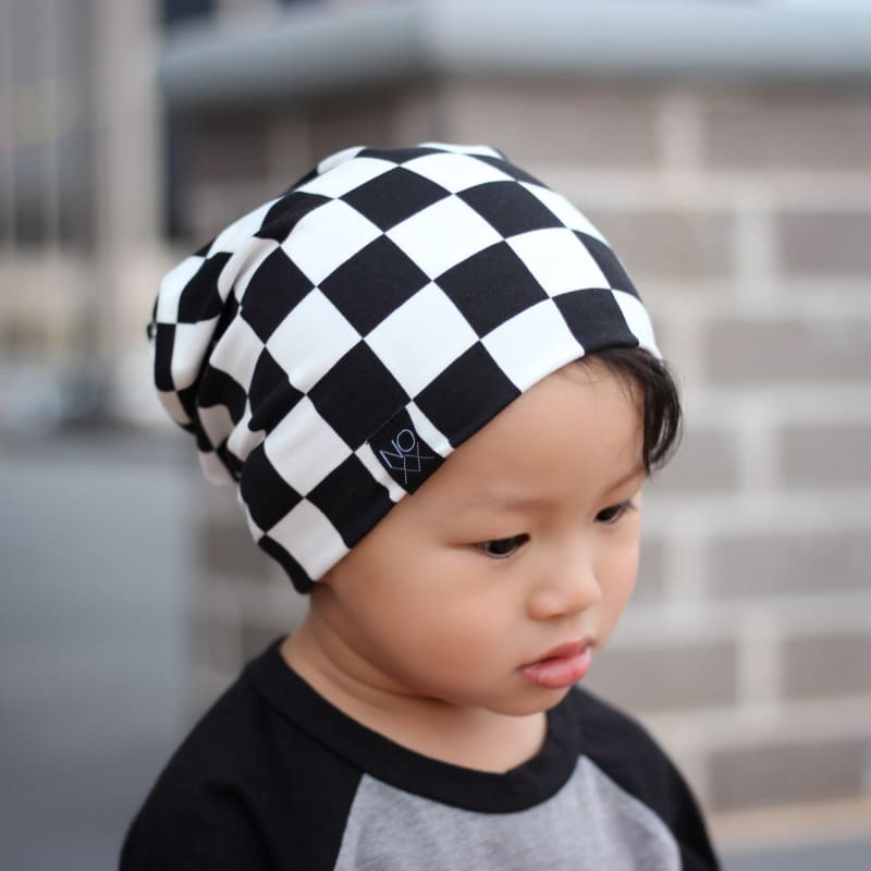 Checkered | Jersey Knit Beanie - Beanies