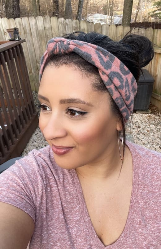 Clay/Black Cheetah Print | Adjustable Knotted Headband