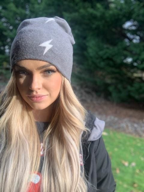 Faded Black Lightning Bolt | Cozy Sweater Knit Beanie