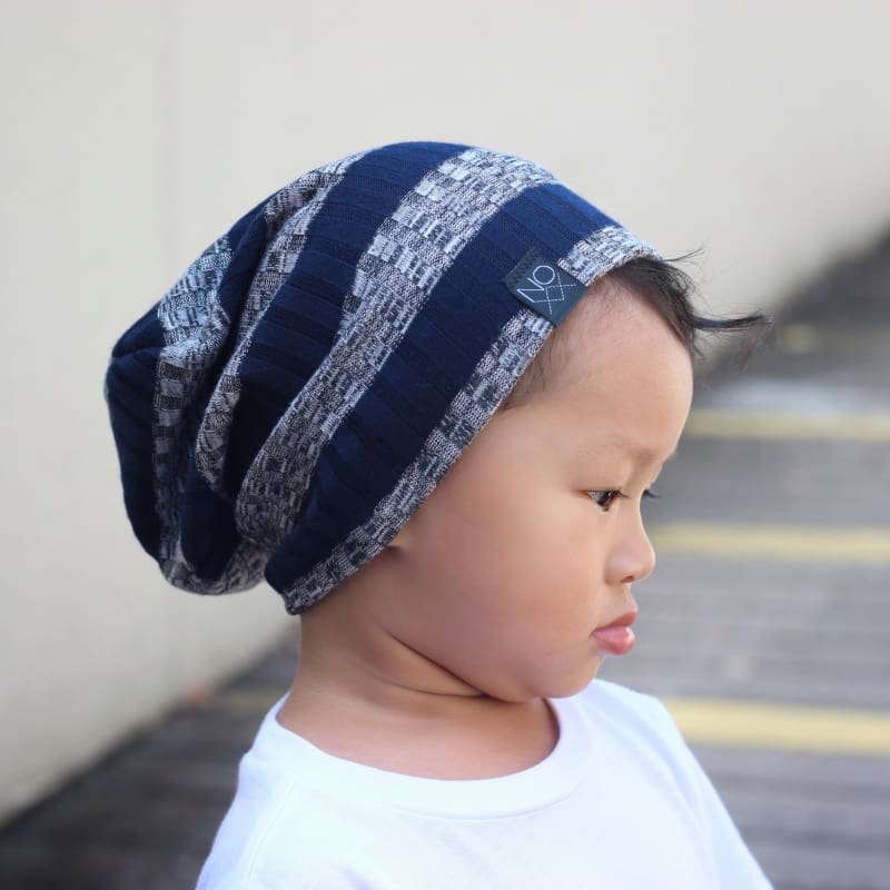 Navy Stripe | Ribbed Knit Beanie - Beanies
