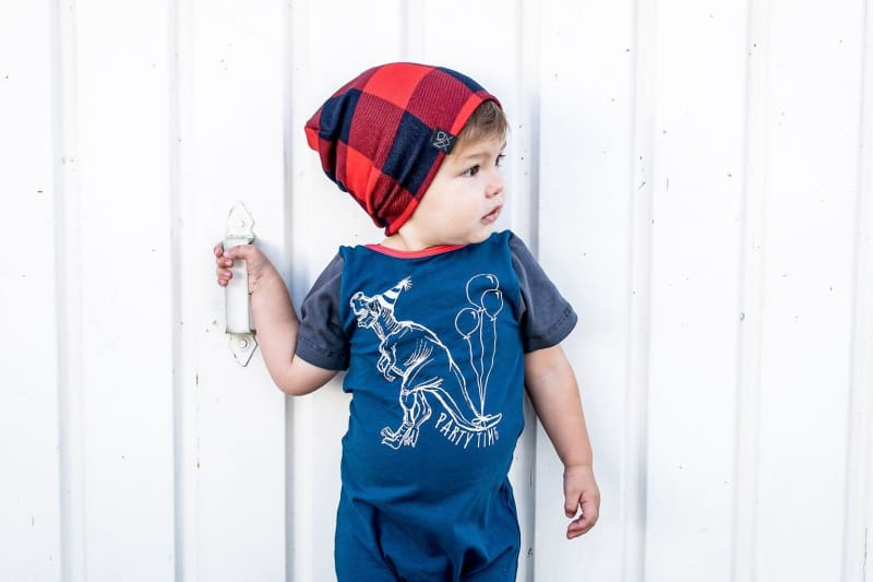 Navy/Red Plaid | Sweater Knit Beanie - Beanies