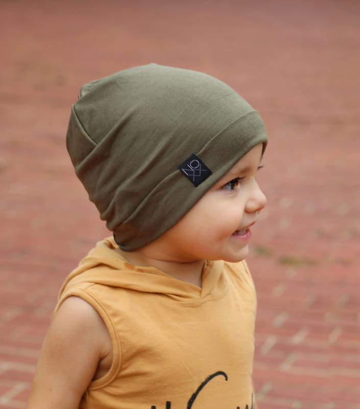Olive | Jersey Knit Beanie - Beanies