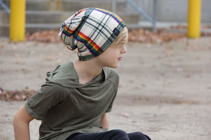 Rainbow Plaid | Sweater Knit Beanie