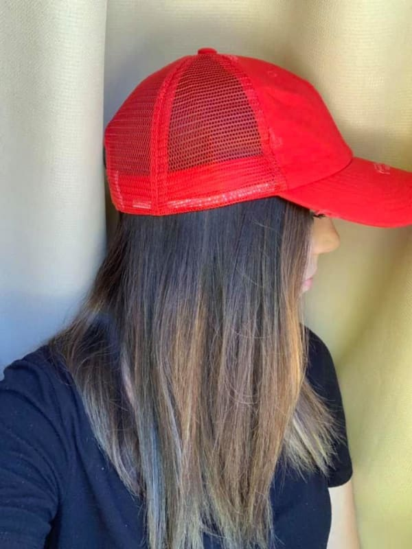 Red Distressed Trucker Hat - ADULT - Hats