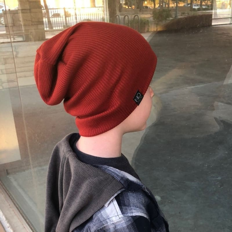 Rust | Ribbed Knit Beanie - Beanies