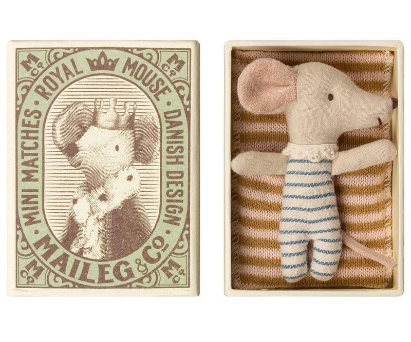 Maileg Sleepy Wakey Mouse Baby Boy in Box - Wanderlustre