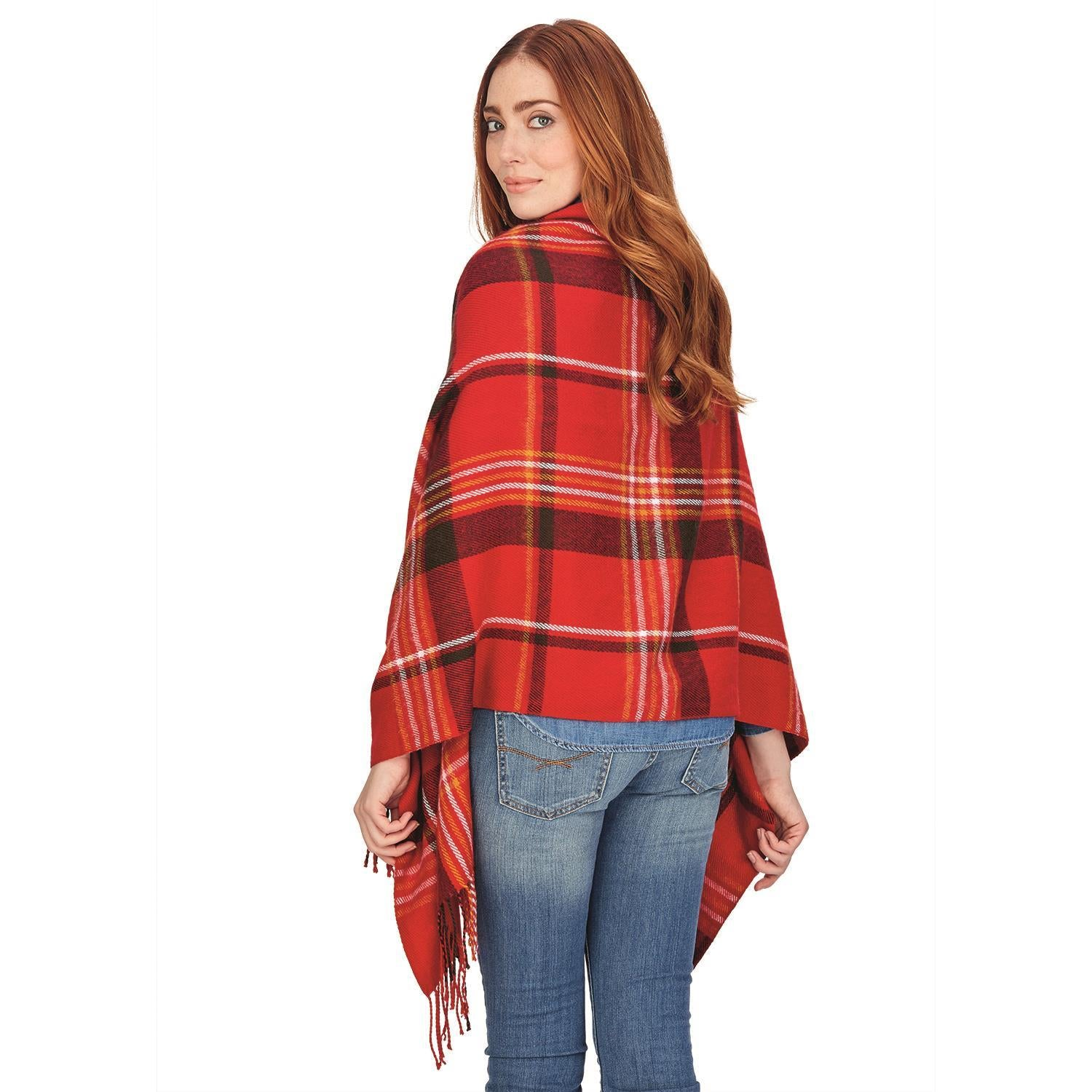2-in-1 Plaid Scarf and Poncho