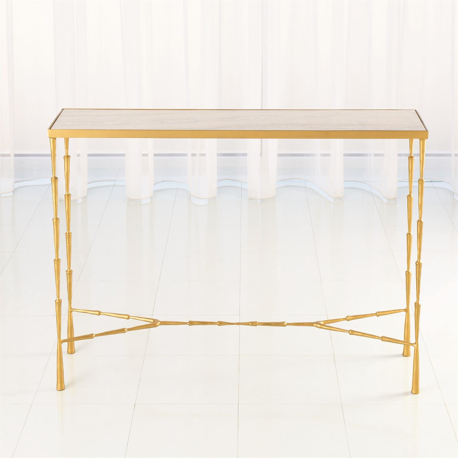 Spike Console - Antique Brass with White Marble - Wanderlustre