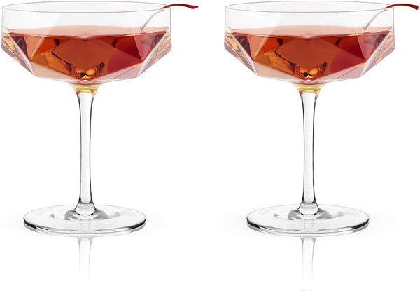 Faceted Crystal Coupe (set of 2)
