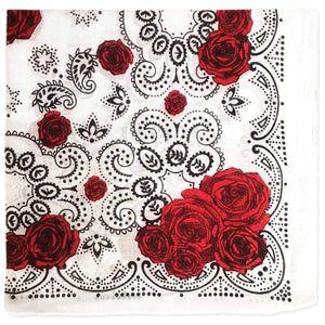 Red Rose Print Cotton Bandana - Wanderlustre