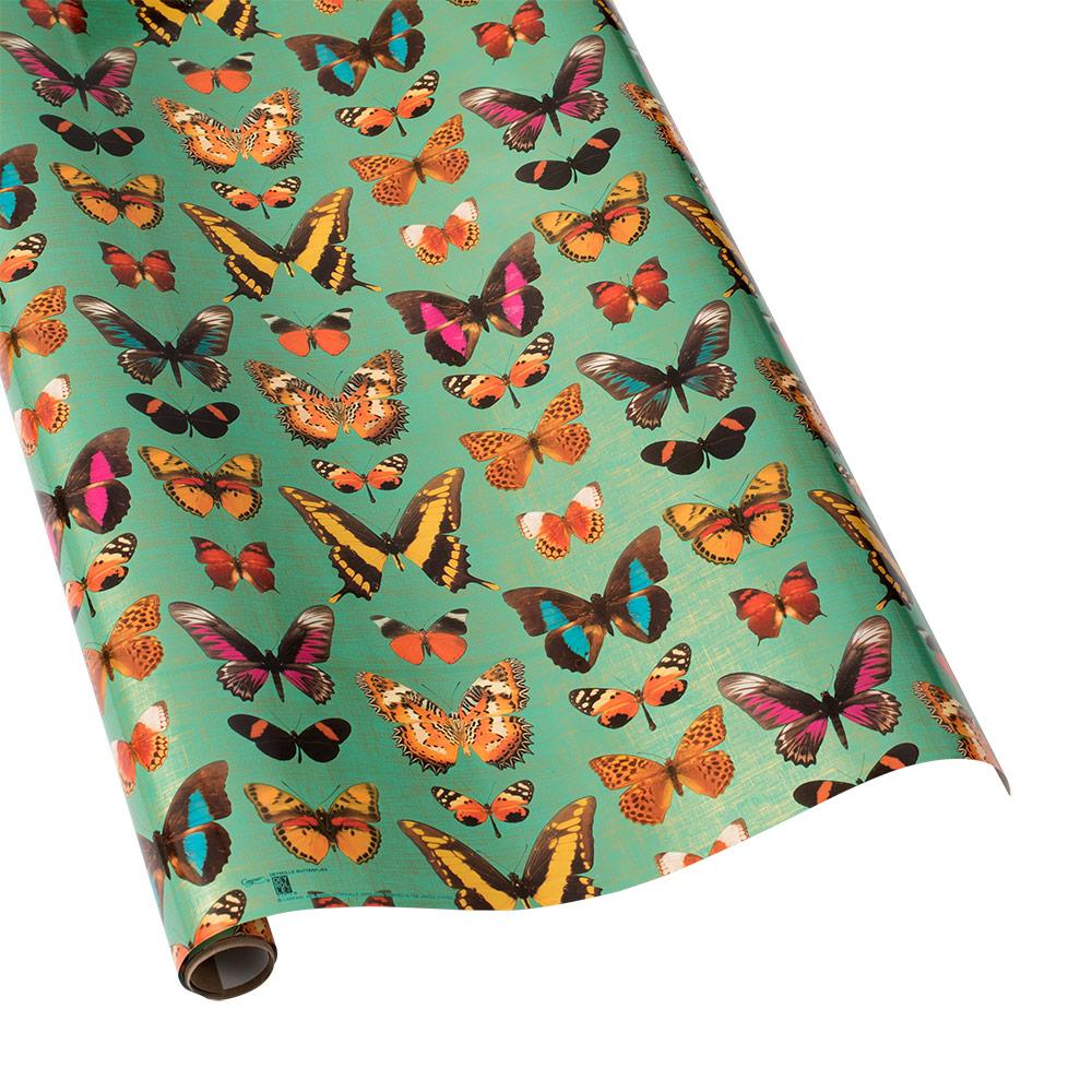Deyrolle Butterflies Gift Wrapping Paper in Turquoise