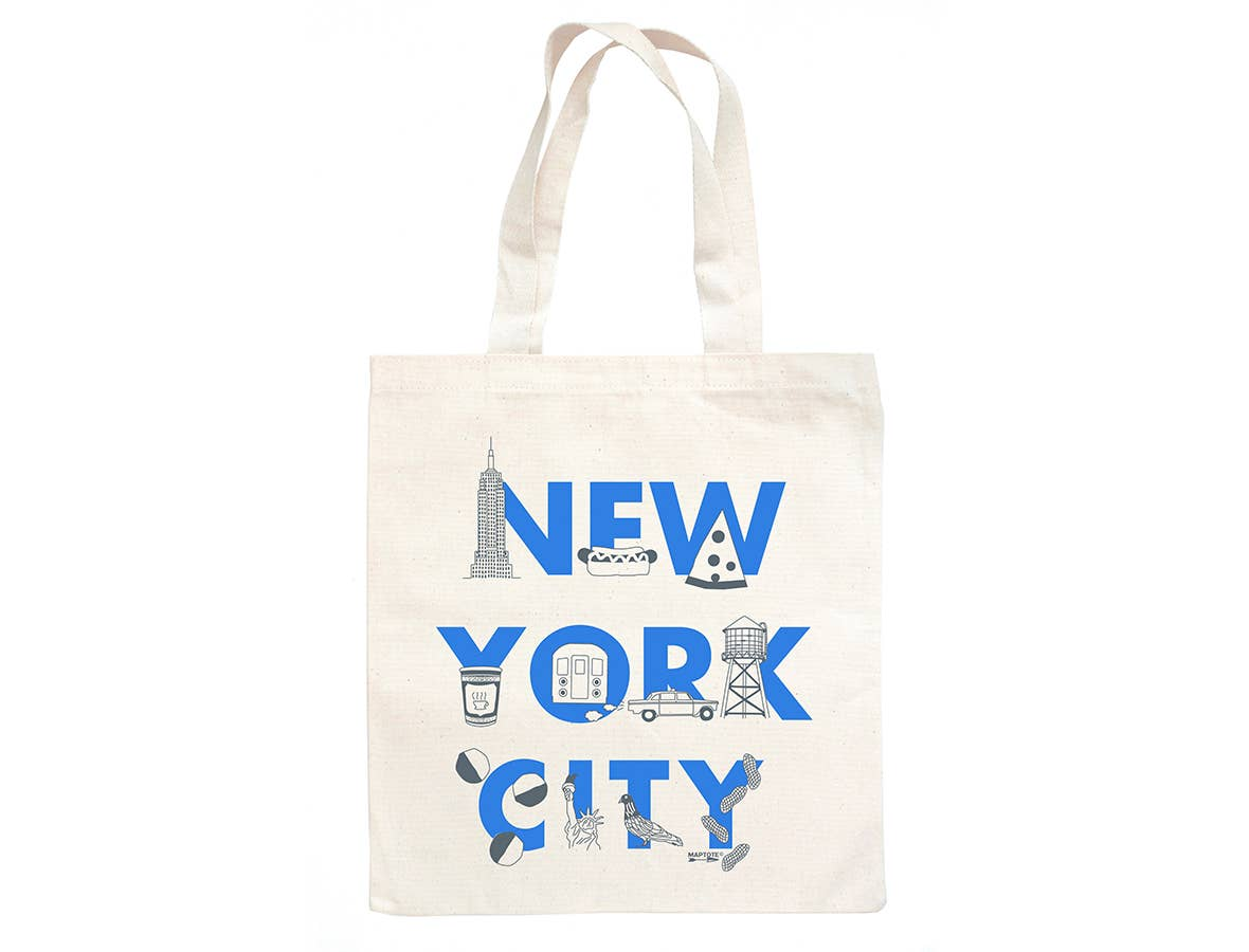 Maptote New York City Font Grocery Tote
