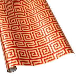 Greek Meander Gift Wrapping Paper in Red and Gold Foil