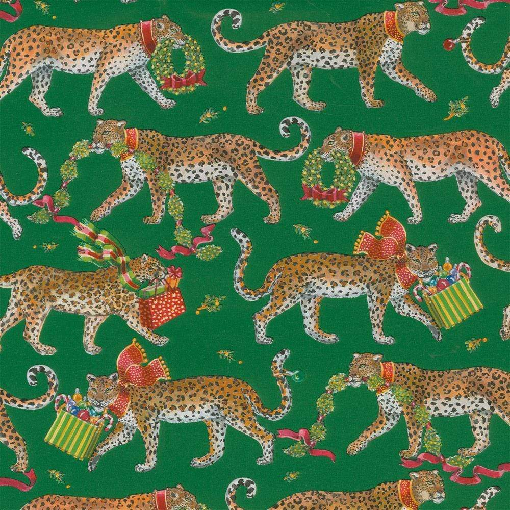 Christmas Leopards Gift Wrapping Paper in Dark Green