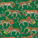 Load image into Gallery viewer, Christmas Leopards Gift Wrapping Paper in Dark Green